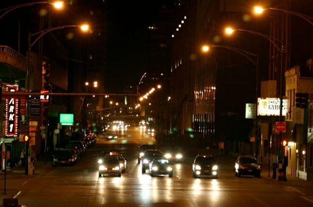 one way street at night oncoming headlights