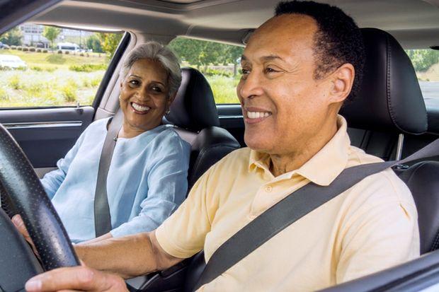 Son drives senior mom weating seatbelts