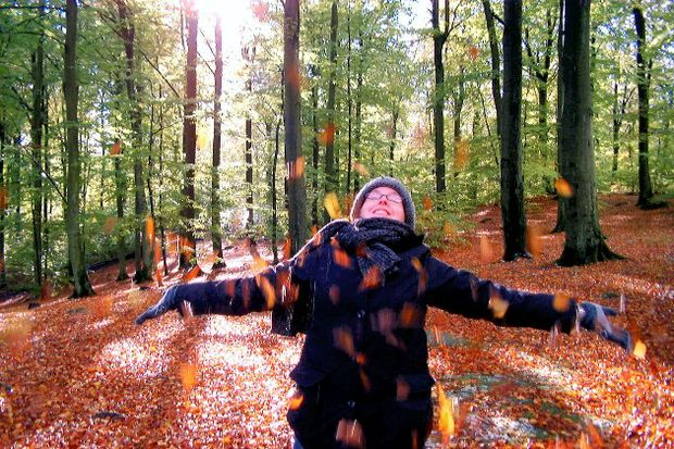 thanksgiving travel woman enjoys autumn leaves in forest