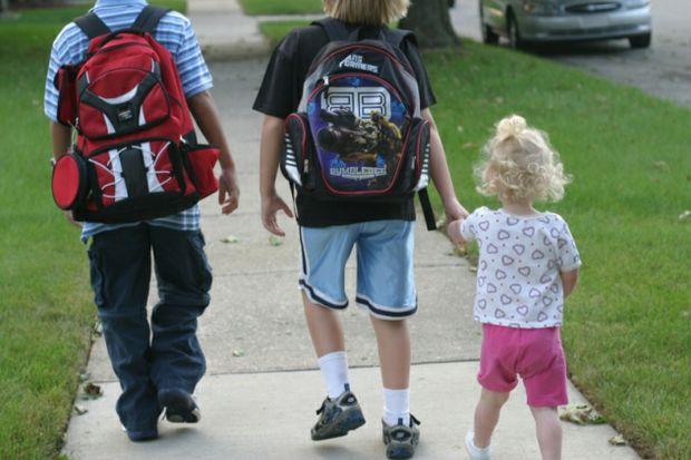 Kids walking to school by Elizabeth Edwards