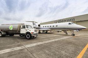 湾流G450和G550使用可再生燃料飞赴EBACE参展_G450