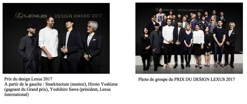 Prix du design Lexus 2017 À partir de la gauche: Snarkitecture (mentor), Hiroto Yoshizoe (gagnant du Grand prix), Yoshihiro Sawa (président, Lexus International) Photo de groupe du PRIX DU DESIGN LEXUS 2017