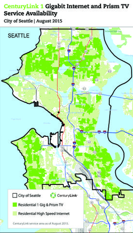 CenturyLink 1 Gigabit Internet and Prism TV Service Availability, City of Seattle