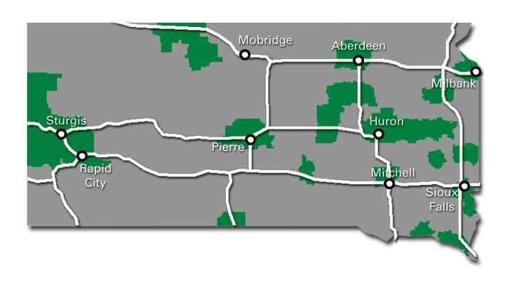 South Dakota Service Map 2017