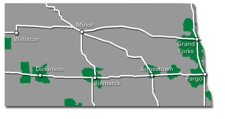 North Dakota Service Map 2017