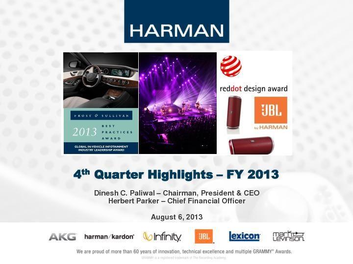4th Quarter Highlights – FY 2013