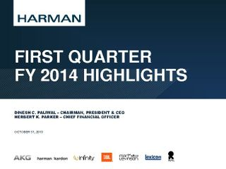 1st Quarter Highlights - FY 2014