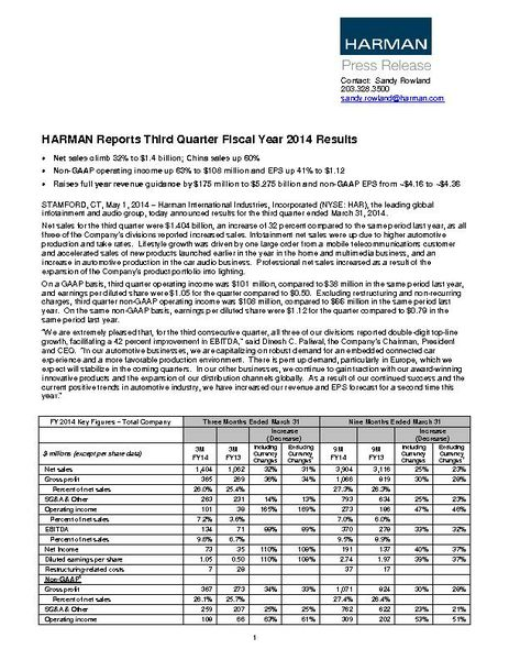 HARMAN Reports Third Quarter Fiscal Year 2014 Results