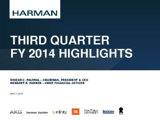 Third Quarter FY14 Highlights