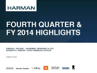 Fourth Quarter & FY 2014 Highlights