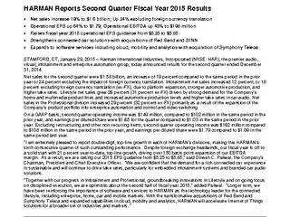 HARMAN Reports Second Quarter Fiscal Year 2015 Results (Full Release)