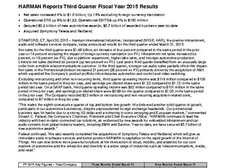 HARMAN 3QFY 2015 Press Release 430 FINAL