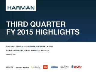 HARMAN 3Q2015 Supporting Slide Deck 4-30