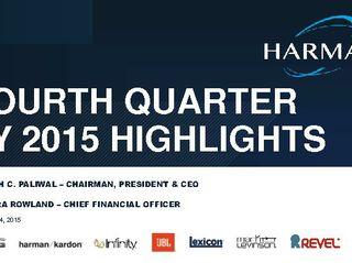 FOURTH QUARTER FY 2015 HIGHLIGHTS