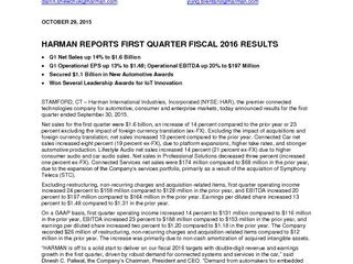 HARMAN Press Release 1Q2016 Press Release FINAL (2)