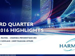 HARMAN FY'16 Q3 Highlights Deck