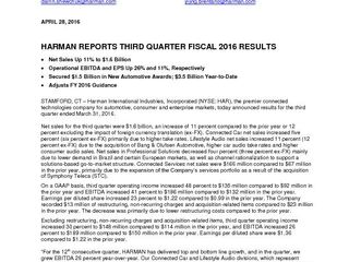 HARMAN Press Release Q3'16 Final