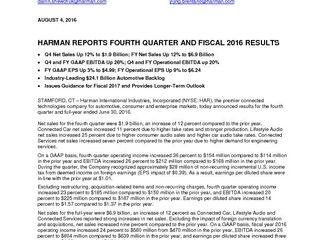 HARMAN Press Release Q4'16 FINAL