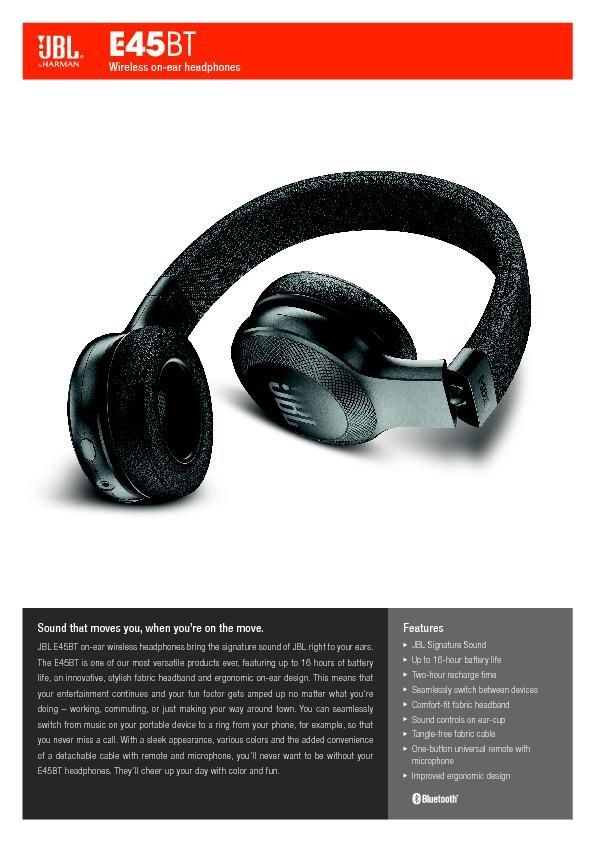 JBL E45BT_Spec Sheet EN
