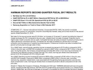 HARMAN Press Release Q2'17 FINAL