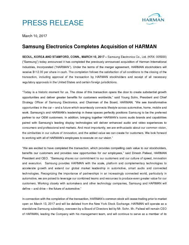 Samsung  HARMAN Close Release