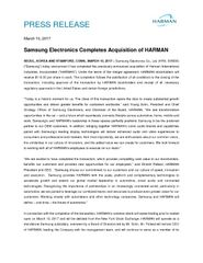 Samsung  HARMAN Close Release