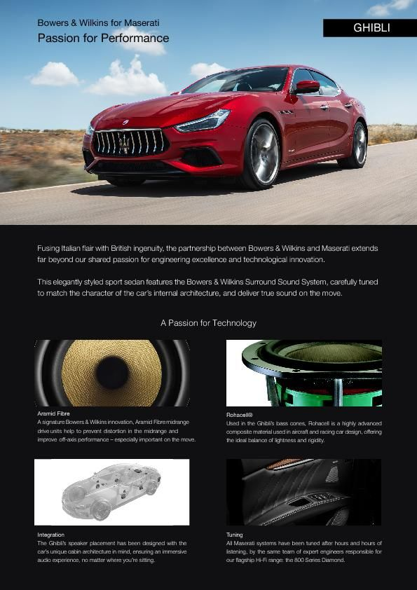 2019-03 Bowers Wilkins One Pager_MY19 Maserati Ghibli