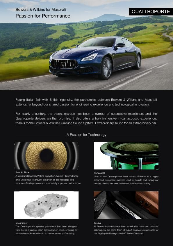 2019-03 Bowers Wilkins One Pager_MY19 Maserati Quattroporte