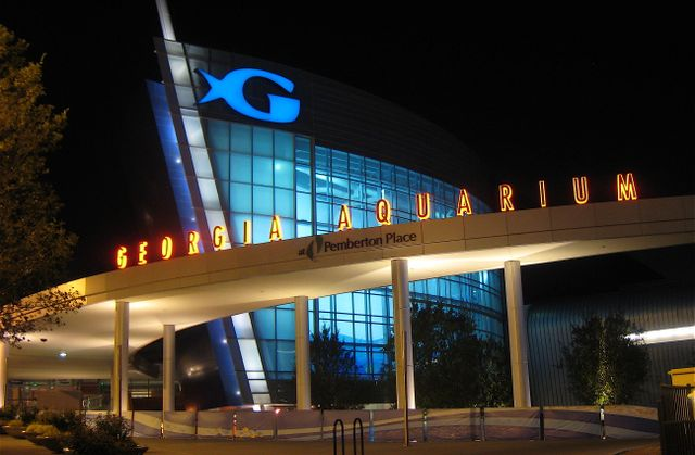 Georgia Aquarium Exterior at Night