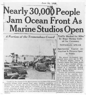 Marine Studios Opening Day - June, 23, 1938