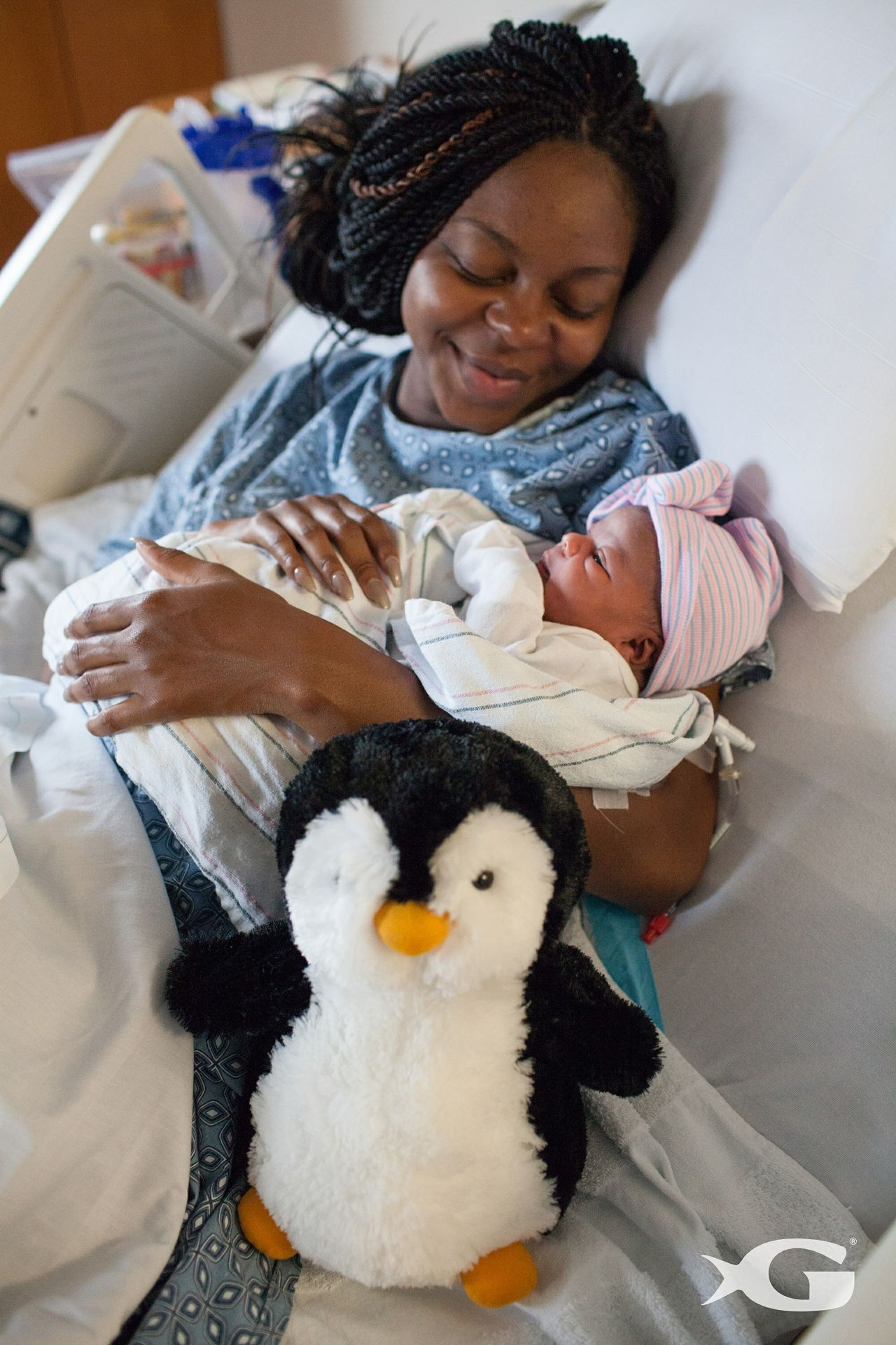 Mother, Newborn and Penguin