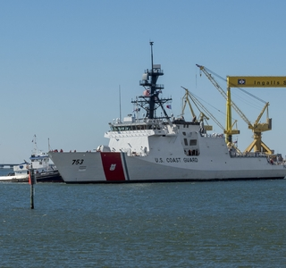 Photo Release--National Security Cutter Hamilton Sails Away From Ingalls Shipbuilding
