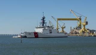 National Security Cutter Hamilton Sails Away