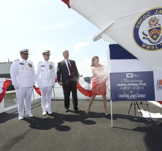 Ingalls Shipbuilding Christens Fifth National Security Cutter, James