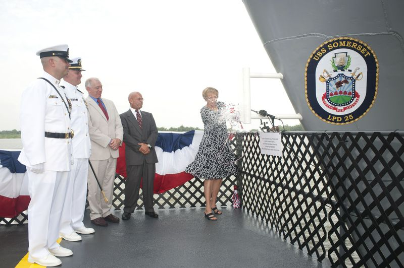 Mary Jo Myers christens Somerset (LPD 25)