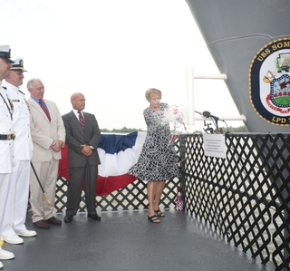 Photo Release -- Ingalls Shipbuilding Christens LPD 25 Somerset in Honor of the 9/11 Heroes of Flight 93