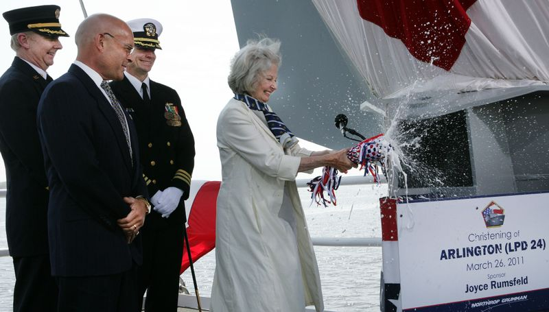 Ship Sponsor Joyce Rumsfeld christens Arlington (LPD 24)