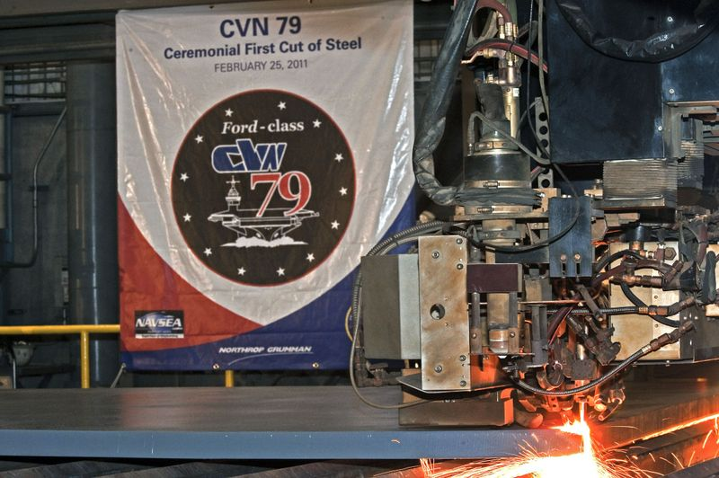 First cut of steel for John F. Kennedy (CVN 79)