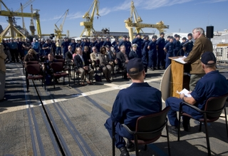 Bob Merchent, Northrop Grumman Shipbuilding - Gulf Coast vice president of surface combatants and U.S. Coast Guard programs, addresses shipbuilders, guests and crew of the U.S. Coast Guard National Security Cutter Waesche (WMSL 751) following the ship'...