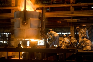 Northrop Grumman Shipbuilding in Newport News, Va., used its foundry to melt 35 tons of steel
