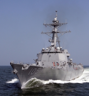 "Dewey (DDG 105) tills the Gulf of Mexico as she successfully completes her ""Super Trial"" last week."