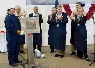 California (SSN 781) submarine keel laying and authentication ceremony