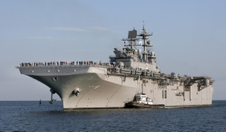 With shipbuilders and sailors together manning the ship, the Northrop Grumman-built Makin Island (LHD 8) returned to Pascagoula, Miss. Thursday evening from U.S. Navy Acceptance sea trials.