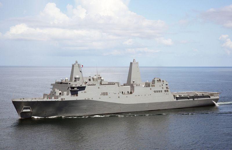 The Northrop Grumman-built amphibious transport dock ship Green Bay (LPD 20)