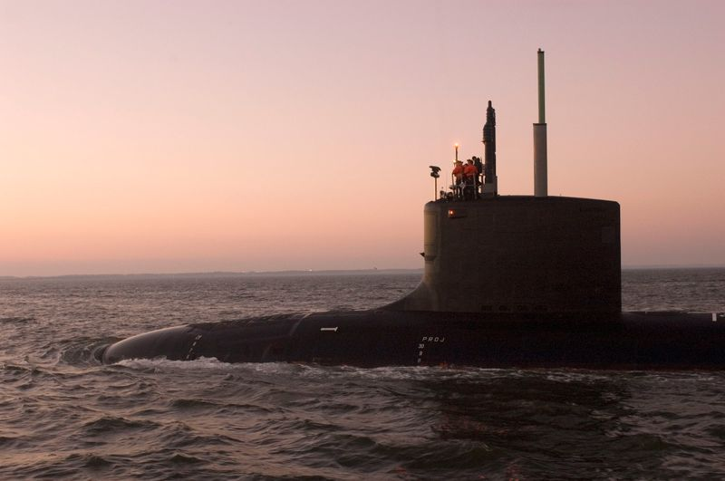 The Virginia-class submarine North Carolina (SSN 777) left