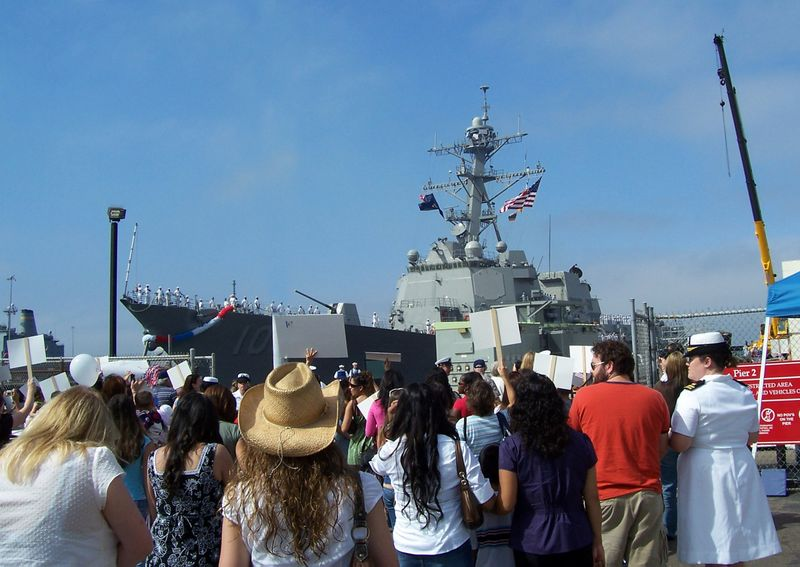 Onlookers welcome the Northrop Grumman-built USS Kidd (DDG 100) to Naval Station San Diego last Thursday.
