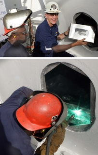 MAST STEPPING: Prospective commanding officer for Bertholf (WMSL 750), Capt. Patrick Stadt (USCG), sealed a box with coins into the mast of the first-of-class National Security Cutter.