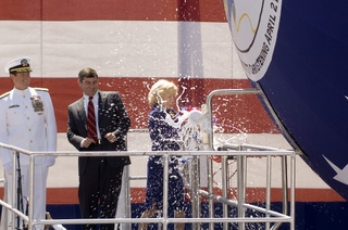 Ship's Sponsor Linda Anne Rich Bowman christens the North Carolina (SSN 777).