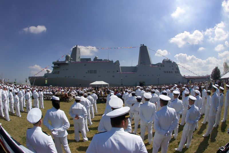 U.S. Sailors from the Northrop Grumman-built USS New Orleans (LPD 18)