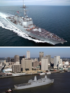 Northrop Grumman delivered two U.S. Navy ships this week from the company's shipyards in Pascagoula and New Orleans.